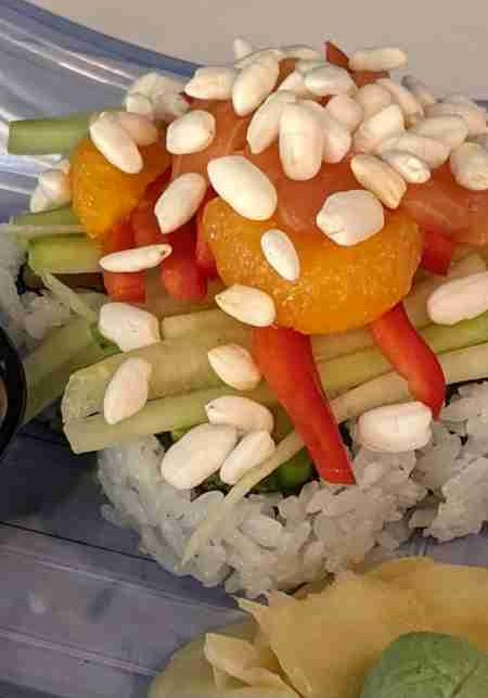 Upstream SalmonSalmon & roasted asparagus, preserved orange, shaved cucumber, red pepper, rice pearls, and Togarashi mayo